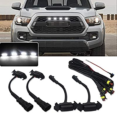 Miniclue 4pcs Smoked Lens White LED Front Grille Lighting Kit For 2016 2017 2018 2019 Toyota Tacoma w/TRD Pro Grill