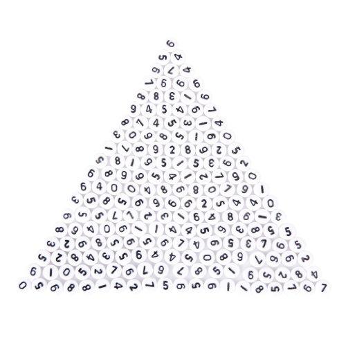200 Stück weiße, runde Zahlen Zwischenperlen 7mm