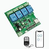 Newgoal interruptor inteligente inalámbrico de 4 canales módulo de relé de autobloqueo de microacción para abridor de puerta de garaje de bricolaje, con control remoto 433RF (Ewelink APP)