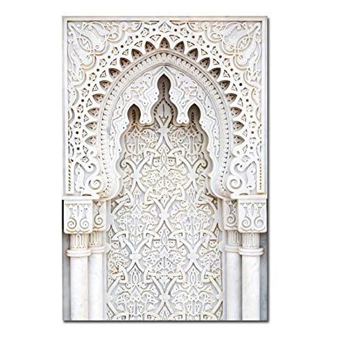 Ywsen Marokko Tür Landschaft Nordic Poster Wandkunst Leinwand Gemälde Casablanca Palace Wandbilder für Wohnzimmer (kein Rahmen) 50x70cm