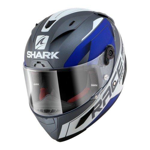 Shark 2649_26700 Hark Race-R Pro Sauer Mat-Casco de Moto, Hombre, Azul, Mittelgroß