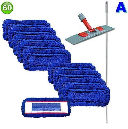 Set mit 10 Wischmopp Wischmop Acryl Industriequalität waschbar in 40 50 60 80 cm (60 cm)