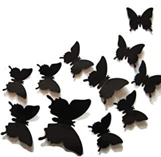 ديكورات حائط فراشات ثلاثي الأبعاد لون أسود