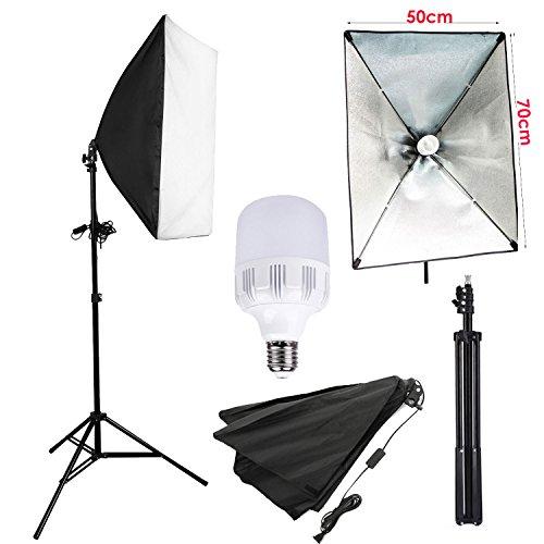 abeststudio Foto Studio Softbox Beleuchtungsset mit Softbox 50x 70cm Softbox und 2m Gestell UNIVERSAL, 1x 25W E275500K LED Leuchtmittel Produkt Support Portrait Professional für Video-Aufnahme