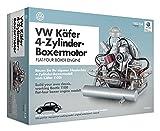 FRANZIS 67038 - Volkswagen Käfer Boxermotor, hochwertiger VW Modell-Bausatz des 4-Zylinder Motors, Maßstab 1:4, 200 Bauteile zum Stecken und Schrauben, inkl. Soundmodul, Anleitung und Begleitbuch