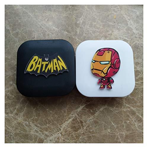 Taoyouzj Estuche para Lentes de Contacto Caso de la Venta Caliente Hecha a Mano de Bricolaje acrílico Lindo Batman Iron Man Lente de Contacto con el Espejo envase de la Caja de Lentes de Colores