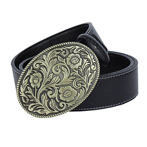 IPOTCH Adjustable Unisex Adjustable Belt with Buckle Gift Vintaje for Birthday Party for Male Muejr - black, round Celtic knot buckle