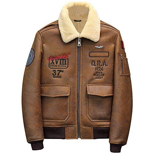 Denny&Dora 2019 Mens Brown Shearling Jacket Leather Jacket Fur Coat B6 Airforce Flight Jacket Mens Winter Coats (Brown, XL)