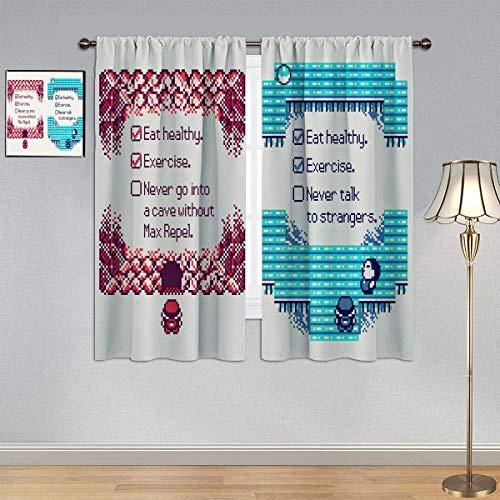 ARYAGO Black Out Cortinas Pokemon Cortinas de mosaico, cortinas doradas y plateadas, para dormitorio, sala de estar, 150 x 182 cm