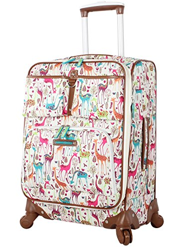 Lily Bloom Luggage Carry On Expandable Design Pattern Suitcase For Woman With Spinner Wheels (20in, Giraffe Park)