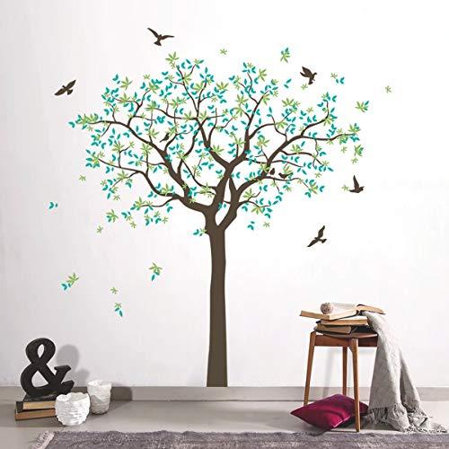 decalmile Wandtattoo Familie Baum Wandaufkleber Grün Blätter Vögel Wandsticker Schlafzimmer Wohnzimmer Sofa Hintergrund Büro Wanddeko (H: 160 cm)
