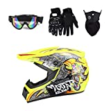 Myleisure DOT Motocross Helmet Set with Accessories (Goggles, Gloves, Face Shield), Adult Youth Full Face Protective Helmet for ATV Dirt Bike Off Road, 4Pcs,Yellow,XL