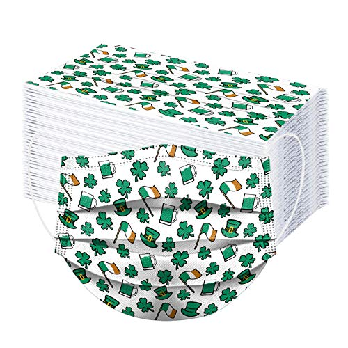 100 PC St. Patricks Day Face_Màsḱs for Adult Disposable Safety 𝐌𝐀𝐒𝐊s 3Ply_Çovịd Face_Màsḱs for Coronàvịrụs_Protectịon Breathable Comfortable Bandanas Decor