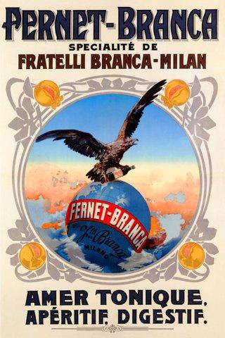 "Eagle World Globe Drink Fernet Branca POSTER Amer Tonique Aperitif Milan Italy Italia 20"" X 30"" Image Size Vintage Poster Reproduction, We have other"
