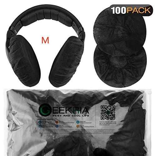 Dehnbare Kopfhörer-Abdeckungen, Einweg-Ohrmuscheln für mittelgroße und große Headsets, 200 Stück (100 Paar) M (8-11) cm 100 Paar (M) - Schwarz