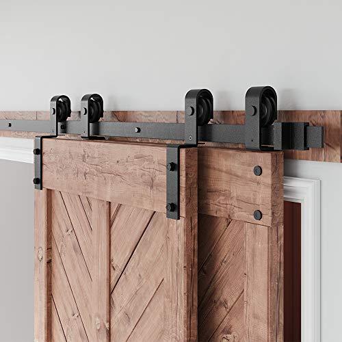 FREDBECK 8FT Bypass Heavy Duty Sturdy Sliding Barn Door Hardware Kit Double Door