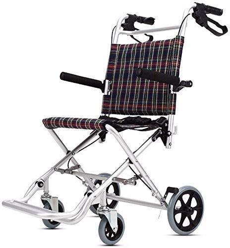 Hyy-yy Discapacitados en silla de ruedas de aluminio silla de ruedas plegable súper ligero, 14.2 pulgadas Anchura del asiento, ligero dispositivo móvil for niños, adecuado for usuarios con discapacida