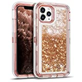WESADN Case for iPhone 11 Pro Max Case for Women Girls Glitter Cute Shockproof Protective Heavy Duty Clear Sparkle Quicksand Hard Bumper Soft TPU Cover for iPhone 11 Pro Max,6.5 Inches,Light Brown