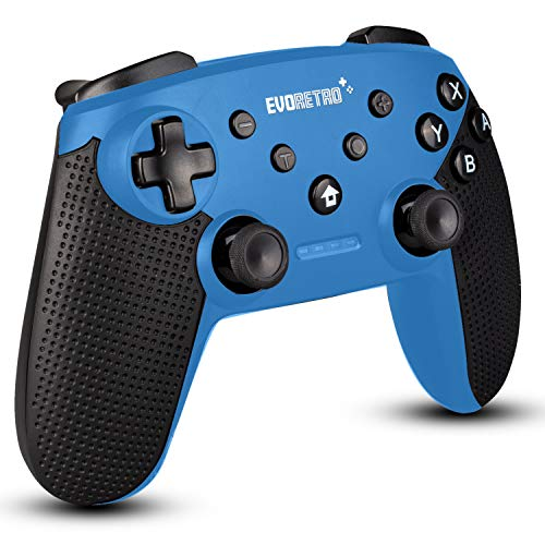 EVORETRO Wireless Bluetooth Pro Controller Compatible with Nintendo Switch | PC Gamepad Joypad Remote with Gyro Axis (Turbo Buttons) (Blue)