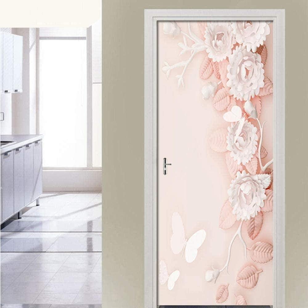 Special price WSNDXZZ 3D Door Selling rankings Stickers Pink Self-Adhesive Waterproof Embossed