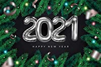 HiYash 8x6ft 2021メリークリスマスクリスマスの背景シルバーハッピーニューイヤー2021クリスマスツリークリスマスボールの背景装飾バナー家の装飾ビニール素材スタジオ小道具