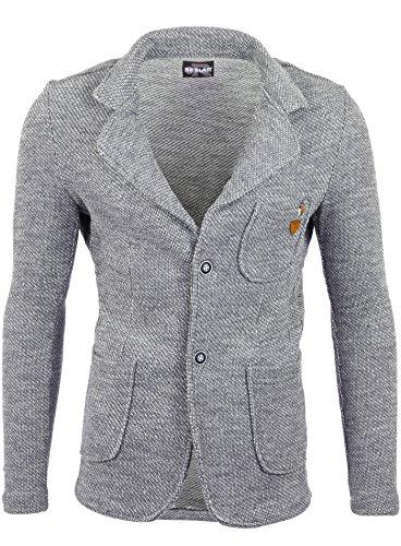 Reslad Herren-Sakko Sportlich Jakett Anzug Jacke Slim Fit Freizeit Blazer-Herren RS-1421 Grau L
