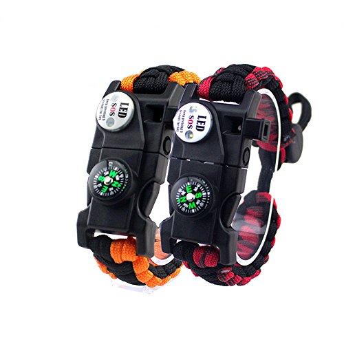 2PCS Braccialetto di Sopravvivenza Regolabile, 7 Core Paracord 20 in 1 Survival Bracelets Kit di Attrezzi Sportivi di Emergenza con Illuminazione LED SOS Impermeabile, Bussola, Fischio di Salvataggio