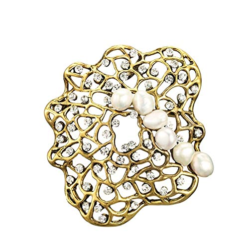 LUOSI Pearl Geometric Brooches For Women Vintage Fashion Pin Coat Accessories