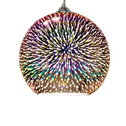 LED Pendelleuchte, 3D Colorfull Glas Kronleuchter Feuerwerk Globus Kugel Stil Hängelampe Kreative Beleuchtung Fixture für Insel Küche Esszimmer Restaurant Dekor Verwendung E27 Birne,Bronze,30cm