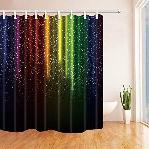 FANG2018 Regenbogen dekorative Badezimmer Duschvorhang strapazierfähiger Stoff Mehltau Badezimmerzubehör Kreativ mit 12 Haken 180X180CM