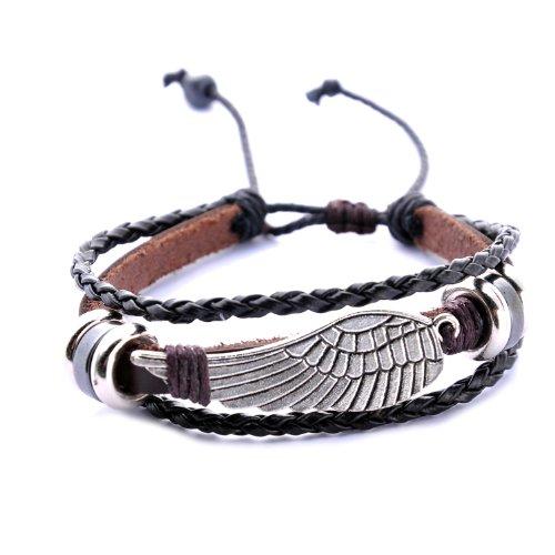 Morella Damen geflochtenes Armband aus Leder mit Flügel Anhänger