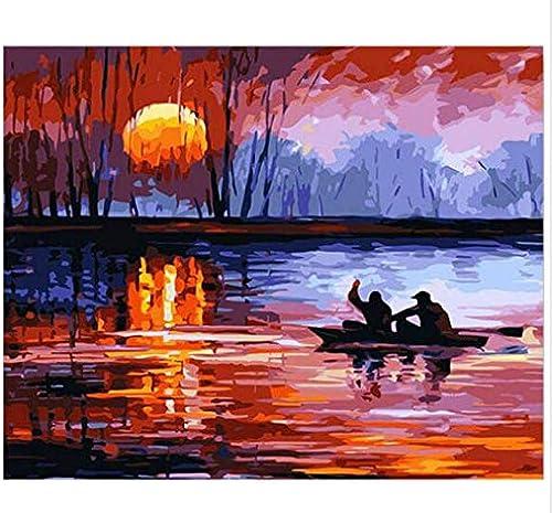 ordene ahora los precios más bajos Pintura de la pintura al óleo que Colora de Diy Diy Diy por los kits de los números que dibujan la pintura en la lona para la imagen del arte de la parojo para la sala de estar, Tworidc5-50X70Cm enmarcado  ahorrar en el despacho