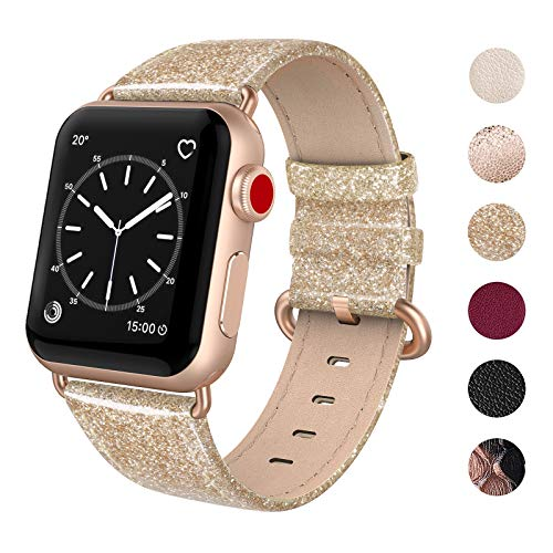 SWEES Leather Band Compatible for Apple Watch 38mm 40mm, Genuine Leather Shiny Glitter Strap Compatible iWatch Apple Watch Series 5 4 3 2 1, Sports & Edition Women, Glistening Gold