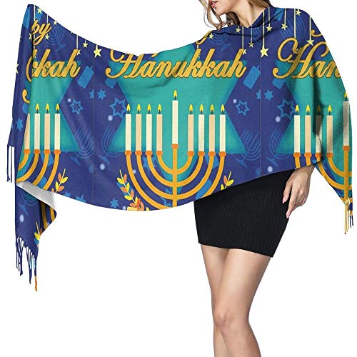 Women's Scarf Fashion Scarfs Bonsai Tree Happy Hanukkah Garden Flag Large Scarf with Tassels Super Soft Warm
