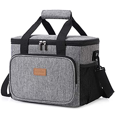 Lifewit Large Lunch Bag Insulated Lunch Box Soft Cooler Cooling Tote for Adult Men Women, 24-Can (15L), Grey