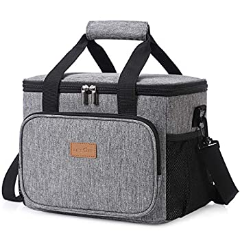 Lifewit Large Lunch Bag 24-Can  15L  Insulated Lunch Box Soft Cooler Cooling Tote for Adult Men Women Grey