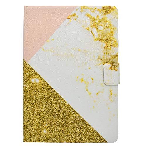 Coopay für Samsung Galaxy Tab A 9,7 T550 Schutzhülle,Rundumschutz Mode Nähen Glitzer Gold Rosa Weiß Marmor Muster Flip Smart Case Etui,Superleicht Ständer PU Leder Hülle mit Auto Schlaf/Wach Funktion
