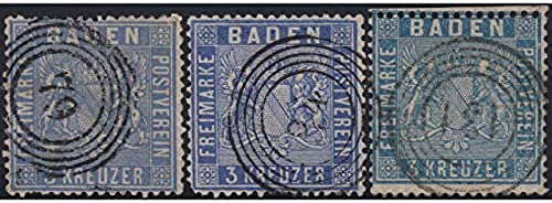 Goldhahn Baden Nr. 10a+b+c gestempelt Briefmarken für Sammler