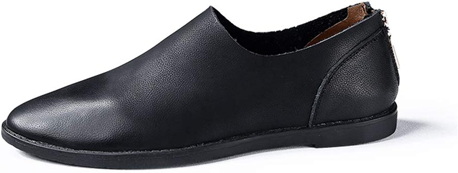 Easy Go Shopping Driving Loafers For Men Zipper Oxfords Casual Flat Penny shoes Leather Upper Slip On Walking Boat shoes Lightweight Durable Cricket shoes (color   Black, Size   6.5 UK)