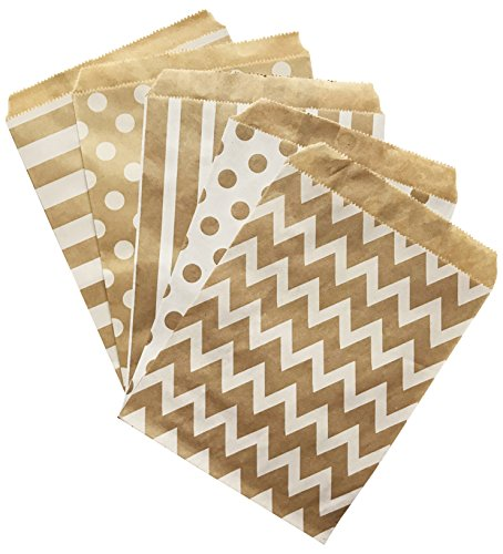 Kraft Brown Wedding Party Treat Bags Set of 60 with Seals