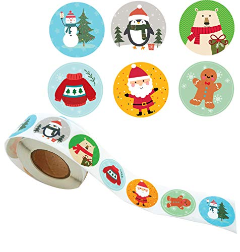 Christmas Sticker Roll - 500 Round Stickers in 6 Colorful Cute Designs 3.5cm (1.4 inches) Wrapping, Party Favor, Greeting Card Sticker Seal, Decoration