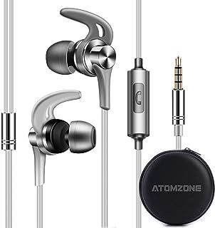 Atomzone Auriculares In Ear Headphone Auriculares de Musica Audífonos Súper Bass con Micrófono Auricular con Cancelación de Ruido para Xiaomi Samsung Huawei HTC iPhone (Gris)