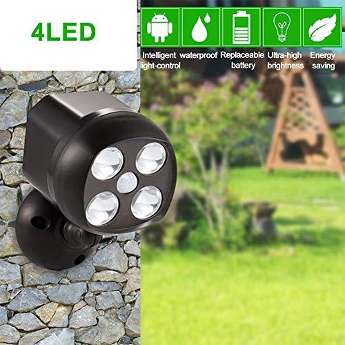 Foco con sensor de movimiento giratorio de 360 grados, IP65, resistente al agua, 4 luces LED para exteriores, funciona con pilas, luces de seguridad para la pared, jardín, pasarelas y entrada, negro