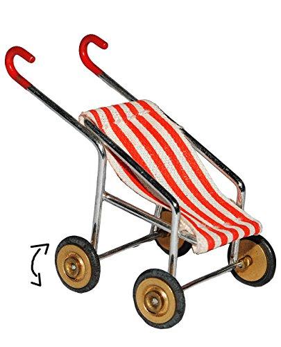 alles-meine.de GmbH Puppenwagen / Buggy - rot weiße Streifen - für Puppenstube Miniatur - Maßstab 1:12 - Kinderwagen - Geldgeschenk zur Geburt - Puppenhaus / Puppenhausmöbel - Ki..