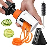 Spiraliser Vegetable Slicer Handheld Spiral - XREXS 2 in 1 Manual Vegetable Spiralizer