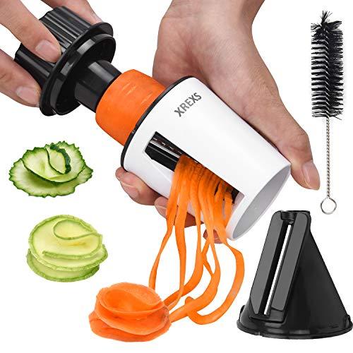 XREXS Spiralschneider Hand für Gemüsespaghetti 2 in 1 Gemüseschneider, Gemüse Spiralschneider für Karotte, Gurke, Zucchini, Gemüsenudeln, Zucchini Spaghetti Schneider, Gemüsenudeln Spiralschneider