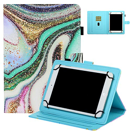 UGOcase Cover for 8' Tablets, Shockproof Folio Stand Protective [Card Slots] [Pen Holder] Case for ZenPad 8.0'/ MeMo Pad 8 ME181C/Mediapad T1 8.0/Honor T1 8.0 and More 7.5'-8.5' Tablets - Sand Marble
