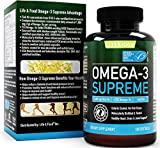 Omega-3 Supreme Strength 1400mg Fish Oil - High EPA DHA Wild Caught MSC Certified, Improved Absorption & Heavy Metal Tested (180 Burp-Less Softgels)
