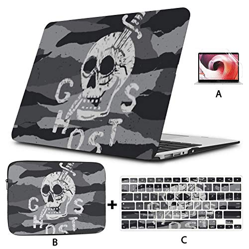 MacBook Pro Case Vector Camouflage Seamless Pattern Skull Graphic Compatible with 12' Retina Display 2015-2017 Version A1534 Plastic Case Shell Case&Sleeve Bag&Keyboard Skin&Screen Protector