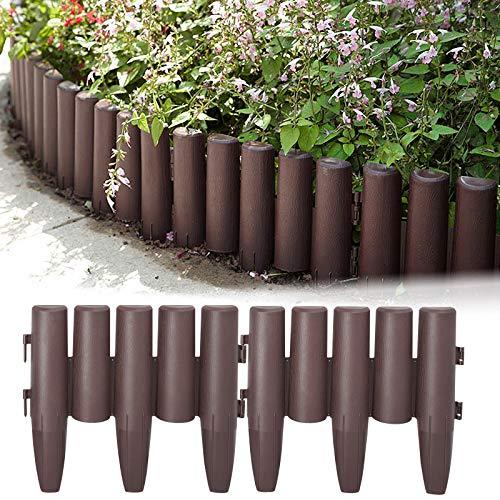 HENGMEI Borde de Jardín Borde para césped Bordes de Plástico para Jardín Plástico Valla para Jardín Aspecto de Madera cercado para jardín, 40 Piezas, 11,2m